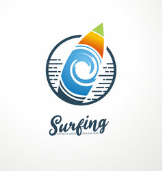 surfing club logo design template vector image
