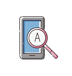 tablet icon with magnifying glass with an english vector image