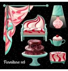 Themed interior design in caramel decor 6 items vector