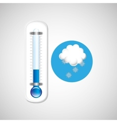 Thermometer blue icon snow weather design vector