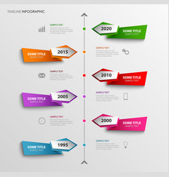 time line info graphic with abstract colored vector image