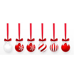 transparent and red christmas ball with snow vector image