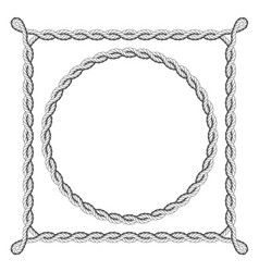 twisted rope frames - round and square borders vector image vector image