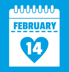 Valentines day calendar icon white vector