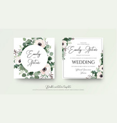 Wedding double invitation floral invite card set vector
