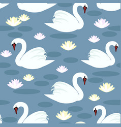 white swans seamless pattern vector image