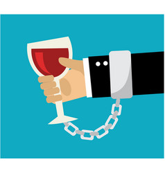 wineglass chained to hand vector image