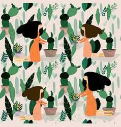 Woman and her flower bunch vector