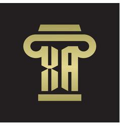 Xa logo monogram with pillar style design vector