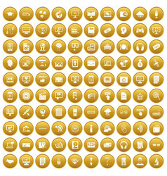 100 website icons set gold vector image
