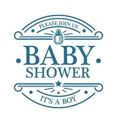 Baby shower boy emblem vector