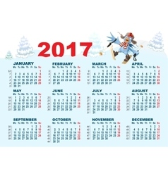 Blue Rooster symbol 2017 and calendar Cartoon vector image