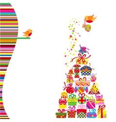 Christmas Greeting Card Colorful Present vector image