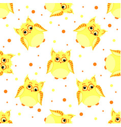 funny yellow-colored owls with scew eyes vector image vector image