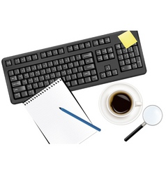 keyboard and office supplies vector image vector image