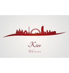 Kiev skyline in red vector image