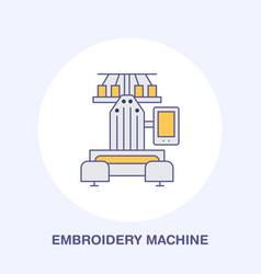 sewing embroidery machine flat line icon logo vector image