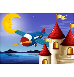A sleeping moon an airplane and a castle vector image