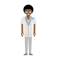 doctor afro american man glasses stethoscope vector image