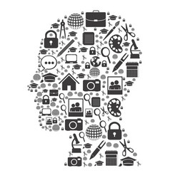 human silhouette with social tools inside icon vector image