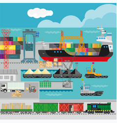 logistics in port infographics template vector image