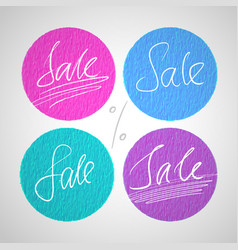 round sale labels with hand drawn lettering vector image vector image