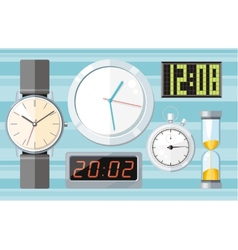 Set of colorful clocks icons vector image