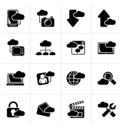 Black cloud services and objects icons vector image vector image