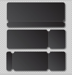 black ticket template with tear-off element vector image