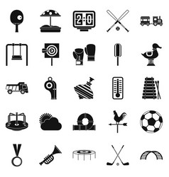 children game icons set simple style vector image vector image