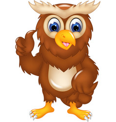 Cute owl cartoon posing with smile and thumb up vector