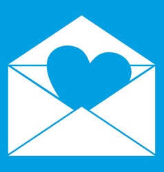envelope with valentine heart icon white vector image vector image