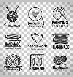 handmade workshop thin line logo set vector image vector image