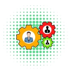 Human resources icon comics style vector image vector image