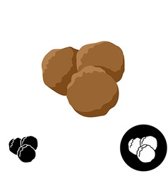 Meatballs icon of three round meatballs color and vector