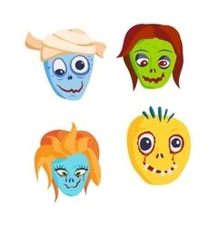 Zombie Head Cartoon icons vector image
