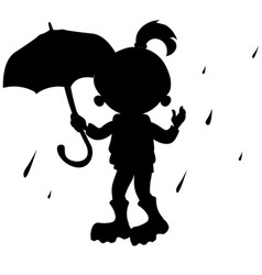 girl with umbrella silhouette vector image vector image