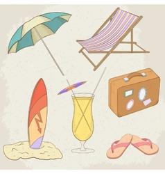 Summer Holiday Hand Drawn Icons vector image vector image