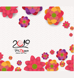 2019 chinese new year greeting card paper cut vector image