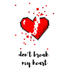 8 bit pixel art broken heart card vector image