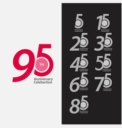 95 th anniversary celebration set template design vector