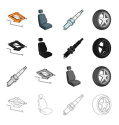 A jack and a wheel key a car seat an electric vector