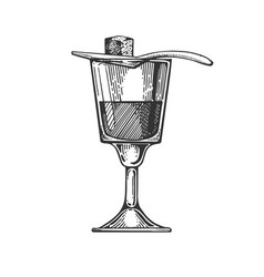 Absinthe alcohol drink engraving vector
