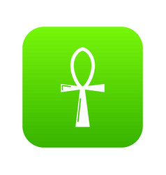 Ancient egyptian cross ankh icon green vector