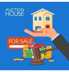 Auction and bidding concept in vector image