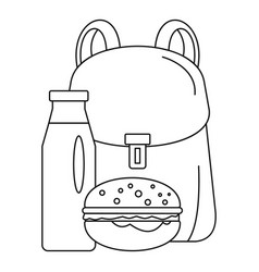 backpack milk burger icon outline style vector image