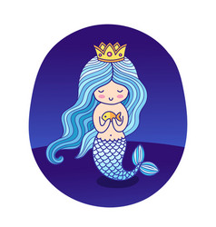 Beautiful little princess mermaid with fish and vector