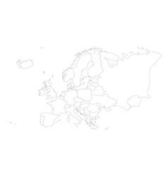 Blank outline map of europe vector