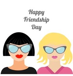 Blond brunet happy friendship day flat vector