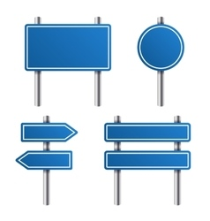 Blue Road Sign Set on White Background vector image